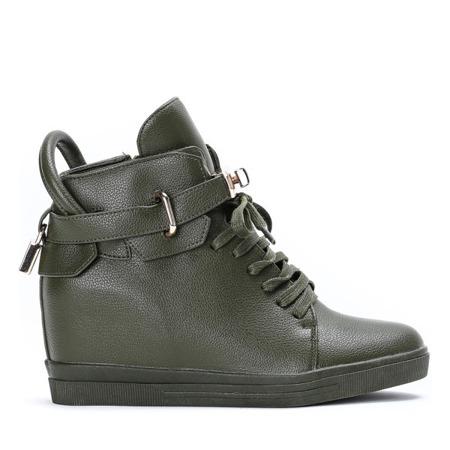 Zielone sneakersy na krytym koturnie Sinnea - Obuwie