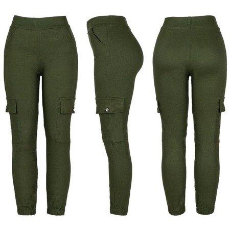 Zielone spodnie cargo damskie - Spodnie