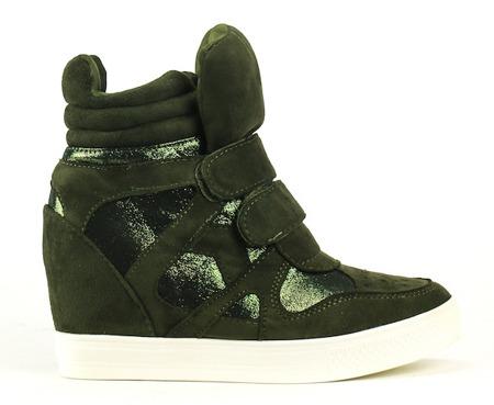 Zielone zamszowe sneakersy na koturnie - Obuwie