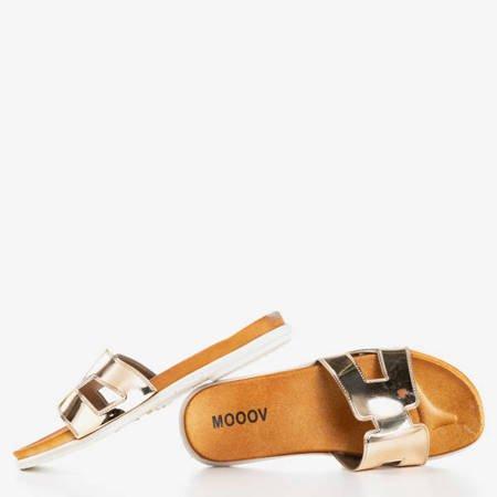Złote damskie klapki Hemoq - Obuwie