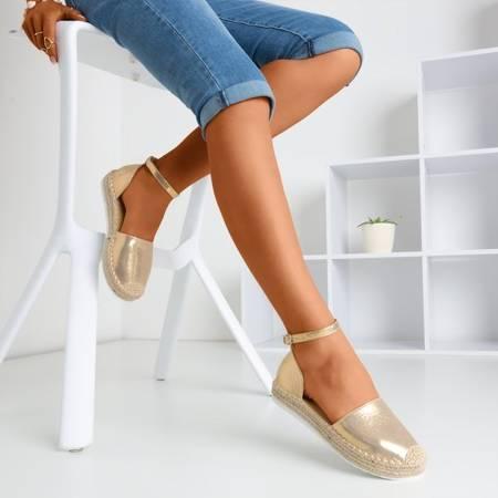 Złote espadryle damskie na platformie Citiva - Obuwie
