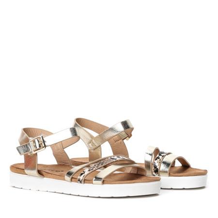 Złote sandały na grubej podeszwie Martita - Obuwie