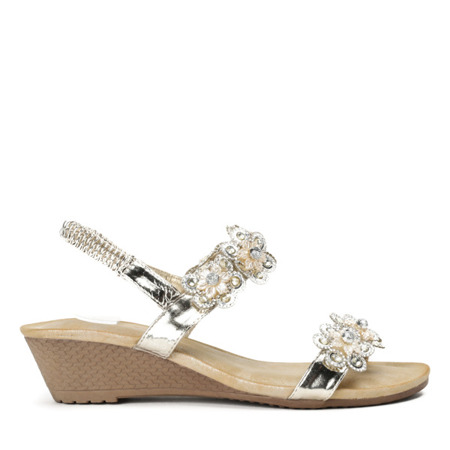 Złote sandały na niskiej koturnie Miriam - Obuwie