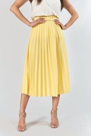 Żółta plisowana spódnica midi z paskem - Odzież
