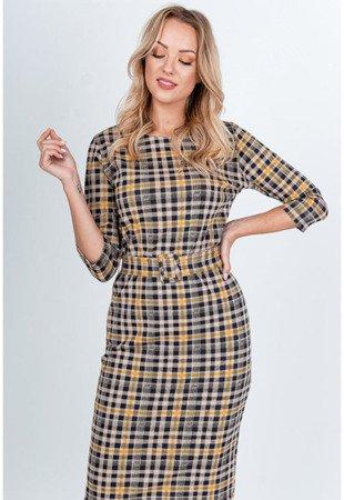 Żółta sukienka w kolorową kratkę - Odzież