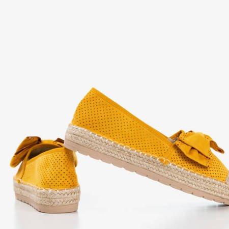 Żółte ażurowe espadryle na platformie z kokardką Mimilla - Obuwie
