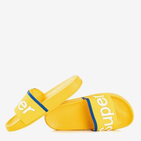 Żółte dziecięce klapki z napisem Super - Obuwie