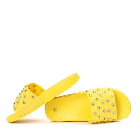 Żółte klapki z cyrkoniami Anastasiya - Obuwie