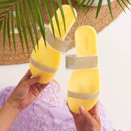 Żółte klapki z cyrkoniami Kazo - Obuwie