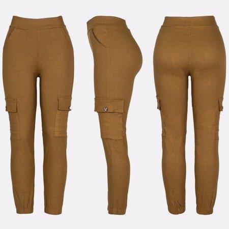 Żółte spodnie cargo damskie - Spodnie