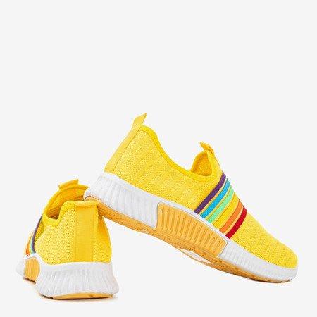 Żółte sportowe buty damskie typu slip - on Rainbow - Obuwie