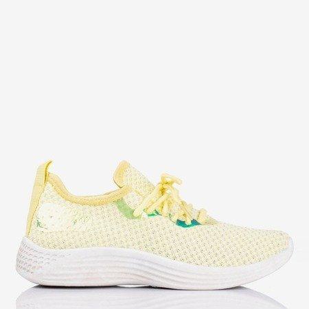 Żółte sportowe buty damskie z błyszczącym wykończeniem Epiphanie - Obuwie