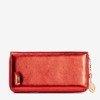 Czerwony damski portfel z błyszczącym wykończeniem - Portfel