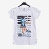 Biały t-shirt damski z printem - Odzież