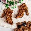 Botki na słupku z wycięciem w panterkę Marisha - Obuwie