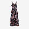 Czarna sukienka midi z printem w kwiaty - Odzież