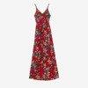 Czerwona sukienka midi z printem w kwiaty - Odzież
