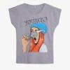 Jasnoszary t-shirt damski z printem - Odzież