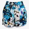 Niebieskie damskie krótkie spodenki w kwiatki - Odzież