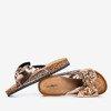 Różowo-złote klapki damskie z kokardką Isydora - Obuwie