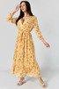 Żółta sukienka maxi w kwiaty - Odzież
