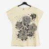 Żółty t-shirt damski w kwiatki z napisami - Odzież